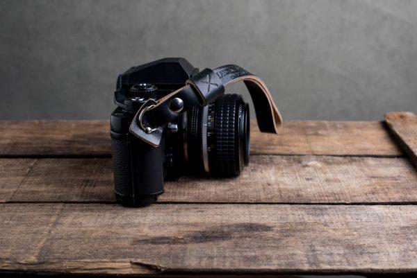 oxford-black-riveted - Hawkesmill-Oxford-Black-Leather-Camera-Strap-Nikon-F3-4