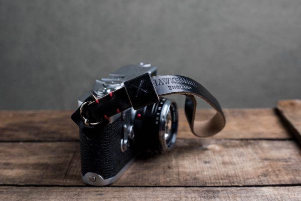 oxford-black-stitched - Hawkesmill-Oxford-Leather-Camera-Wrist-Strap-Black-Stitched-Leica-M3-1
