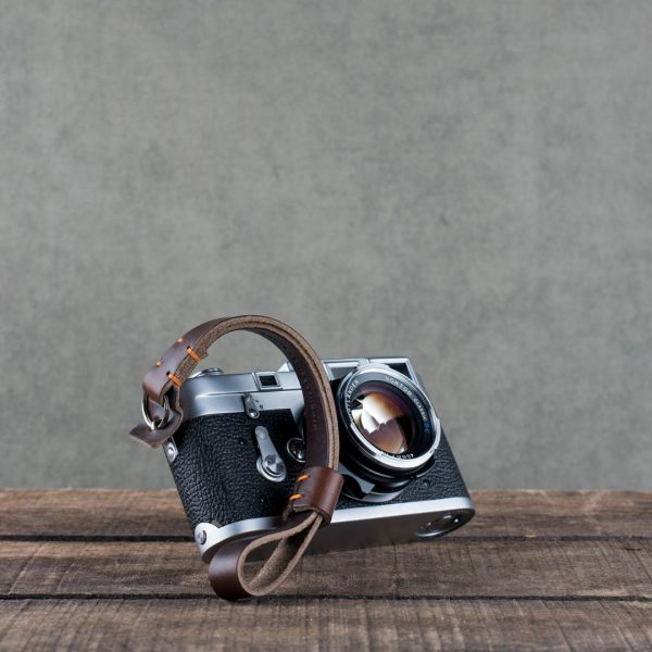 oxford-brown-stitched - Hawkesmill-Brown-Oxford-Stiched-Leather-Camera-Wrist-Strap-For-Nikon-Leica-Sony-Fujifilm